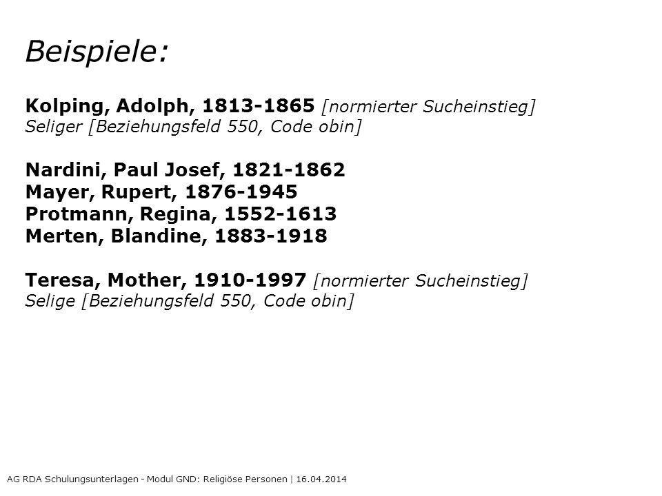 Beispiele: Kolping, Adolph, 1813-1865 [normierter Sucheinstieg]